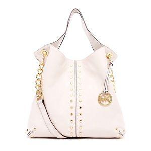 Michael Kors white leather gold stud satchel purse